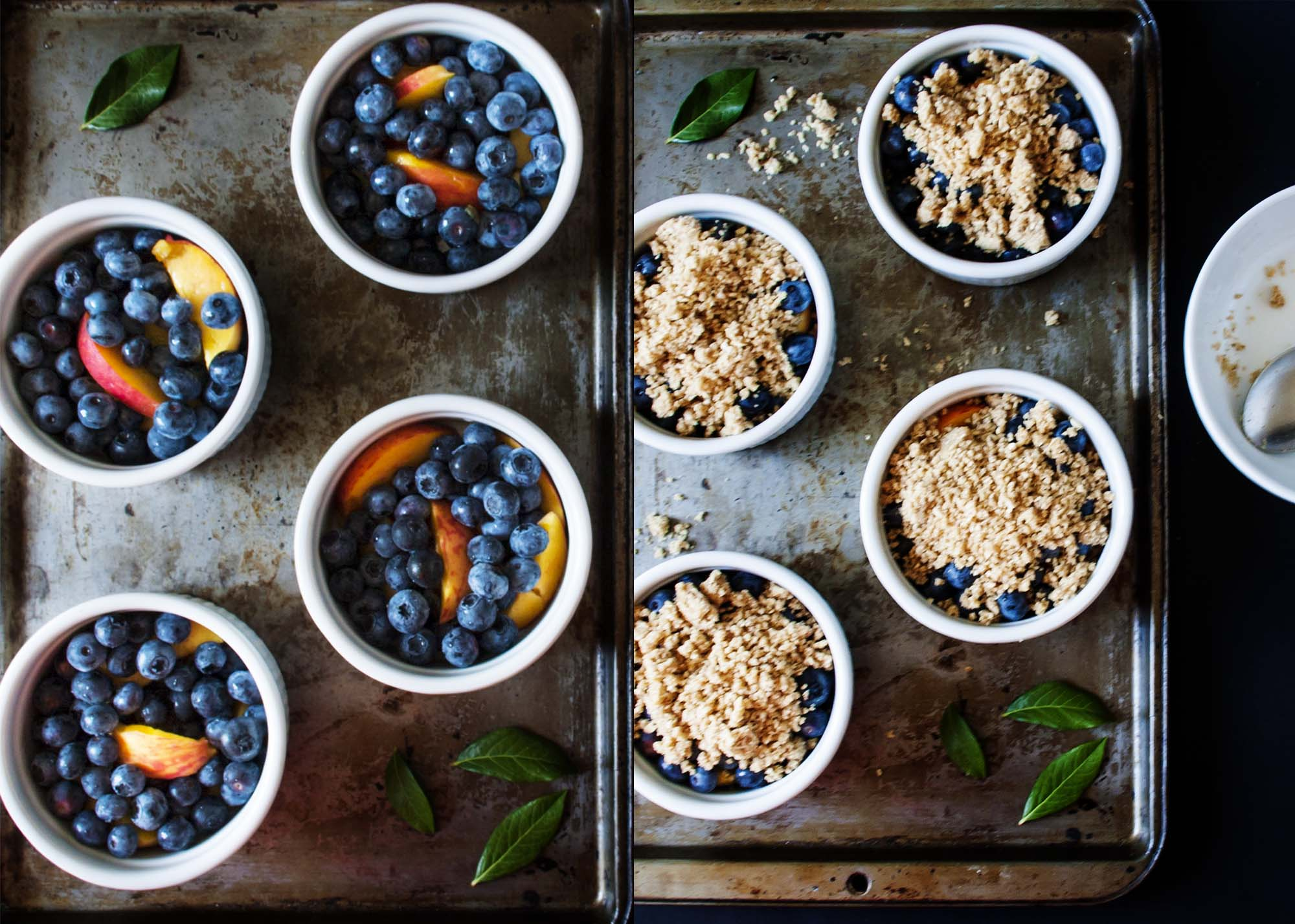 Gluten-Free Blueberry Peach Crisp - only 8 ingredients and 15 minutes prep and you're on your way to the perfect bowlful of sweet fruit and nutty topping | justalittlebitofbacon.com