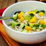 Mango, Cucumber Brown Rice Salad - a refreshing sweet and crisp grain based salad | justalittlebitofbacon.com