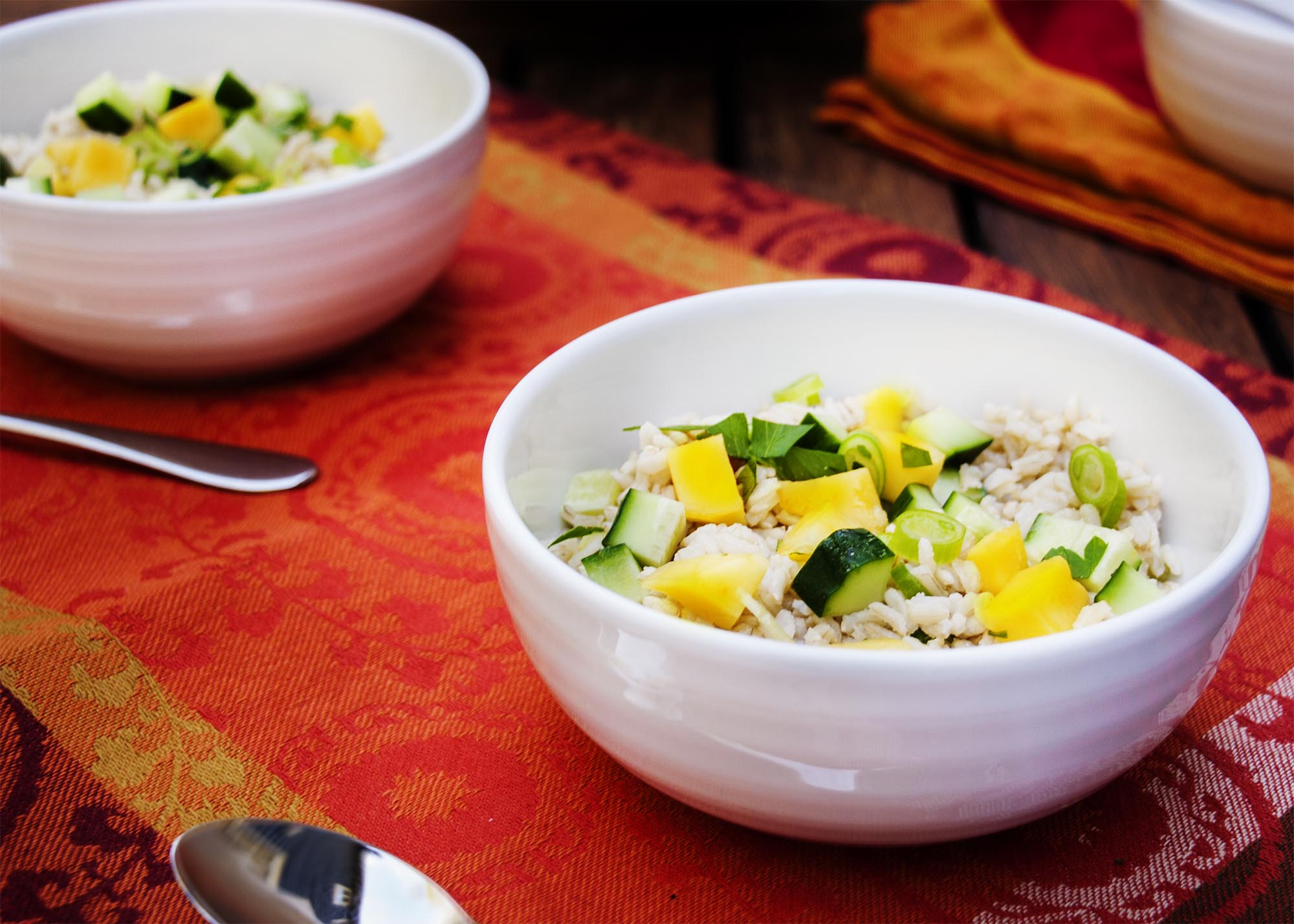 Mango, Cucumber Brown Rice Salad - a light and refreshing grain based salad | justalittlebitofbacon.com