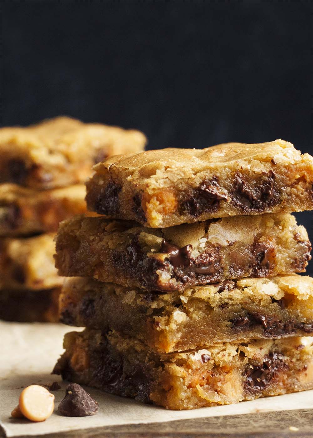 Chocolate Chip Butterscotch Bars - These one bowl bars have all the comfort of an old-fashioned butterscotch bar and the added pleasure of gooey chocolate chips in every bite.   justalittlebitofbacon.com