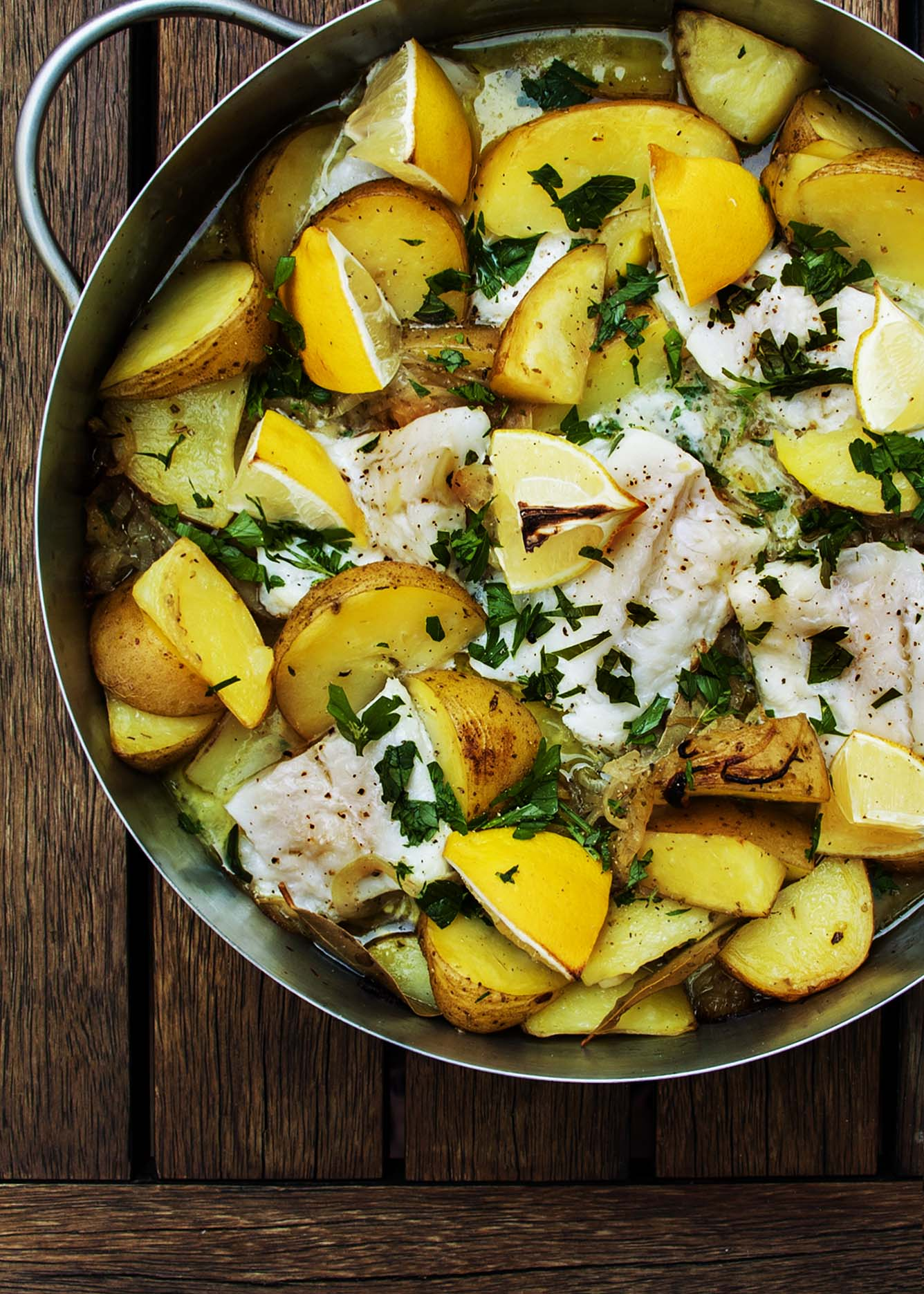Cod Baked With Lemons And Potatoes Just A Little Bit Of