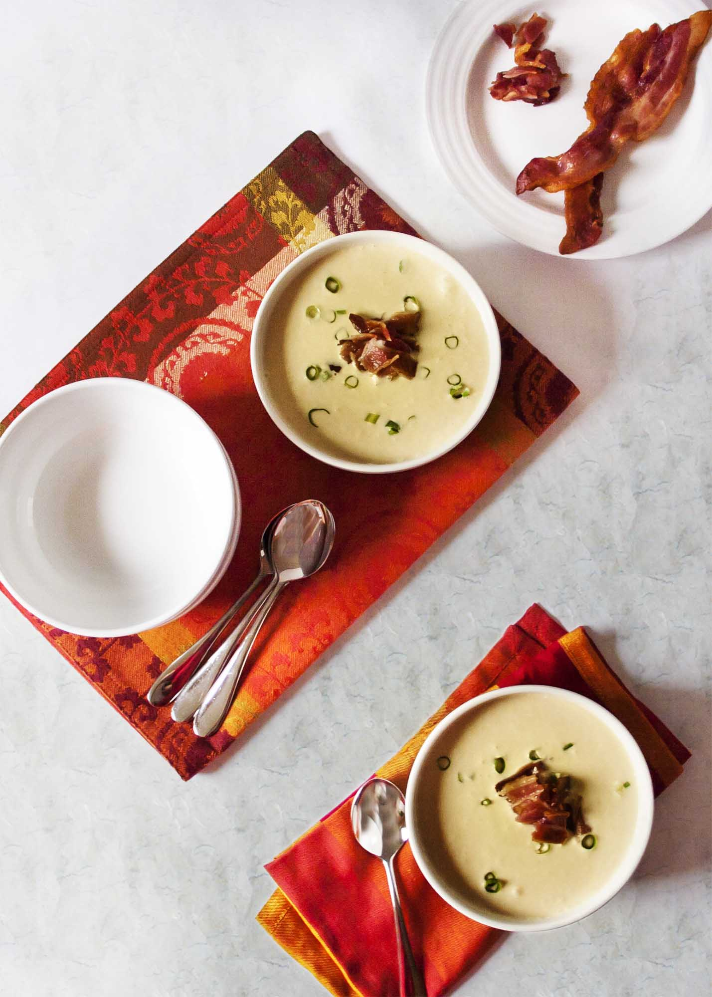 Silky Corn Soup Topped with Bacon