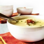 Silky Corn Soup Topped with Bacon - A stock made from corn cobs simmered with fresh, cut kernels creates a cold soup full of flavor. | justalittlebitofbacon.com