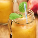 Peach and Bourbon Frozen Cocktail with a hint of ginger