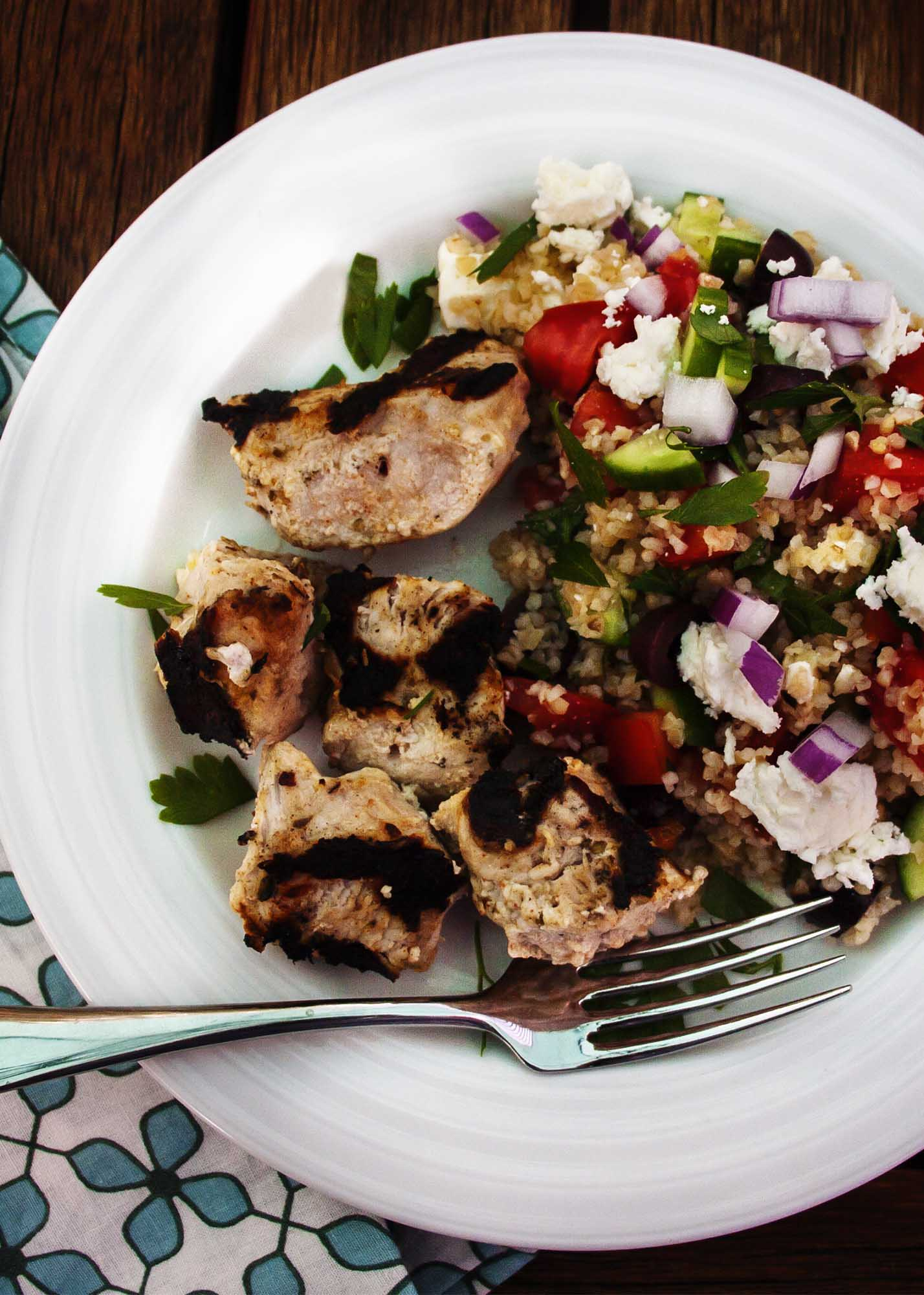 pork kebabs and bulgur salad 6