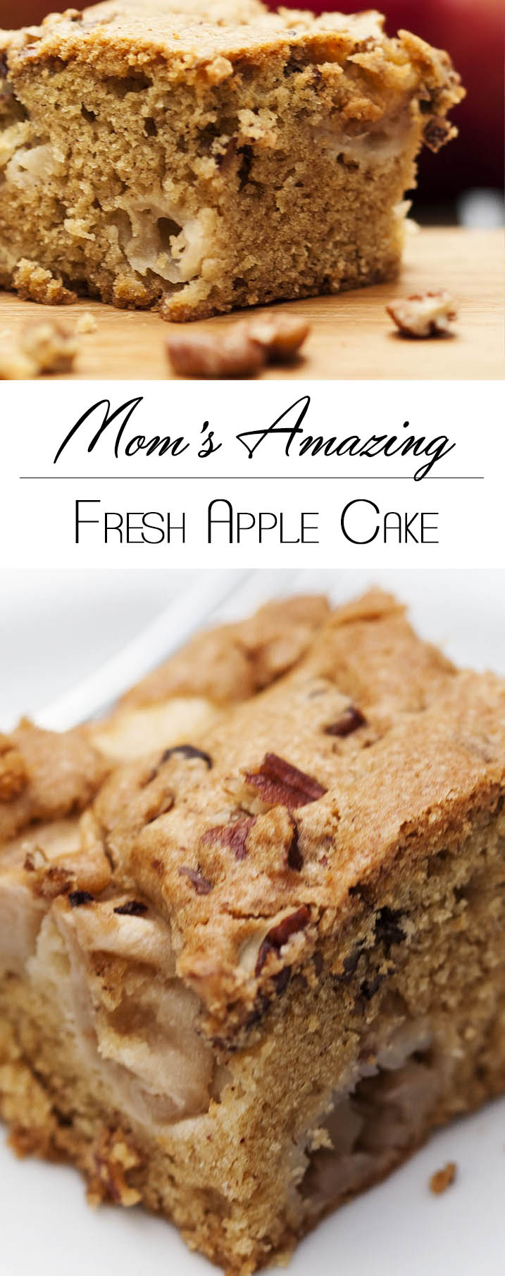 Mom's Amazing Fresh Apple Cake - This cake is so easy, tasty, and full of pecans and apples that it has become a fall tradition in my family from my mom to me. And now to you. | justalittlebitofbacon.com