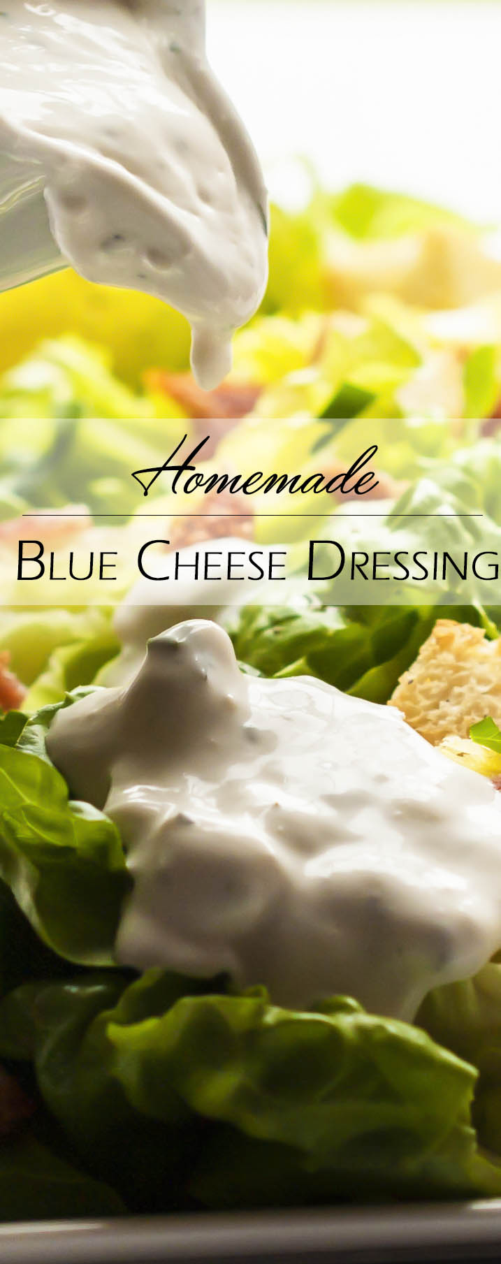 Blue Cheese Dressing - 5 minutes and 5 ingredients are all you need to make a blue cheese dressing so good you won't want to go back to store bought. | justalittlebitofbacon.com
