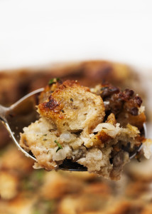 My Favorite Bread and Sausage Stuffing - This classic combination of bread, pork sausage, aromatics, and lots of sage produces a stuffing that says Thanksgiving to me.   justalittlebitofbacon.com