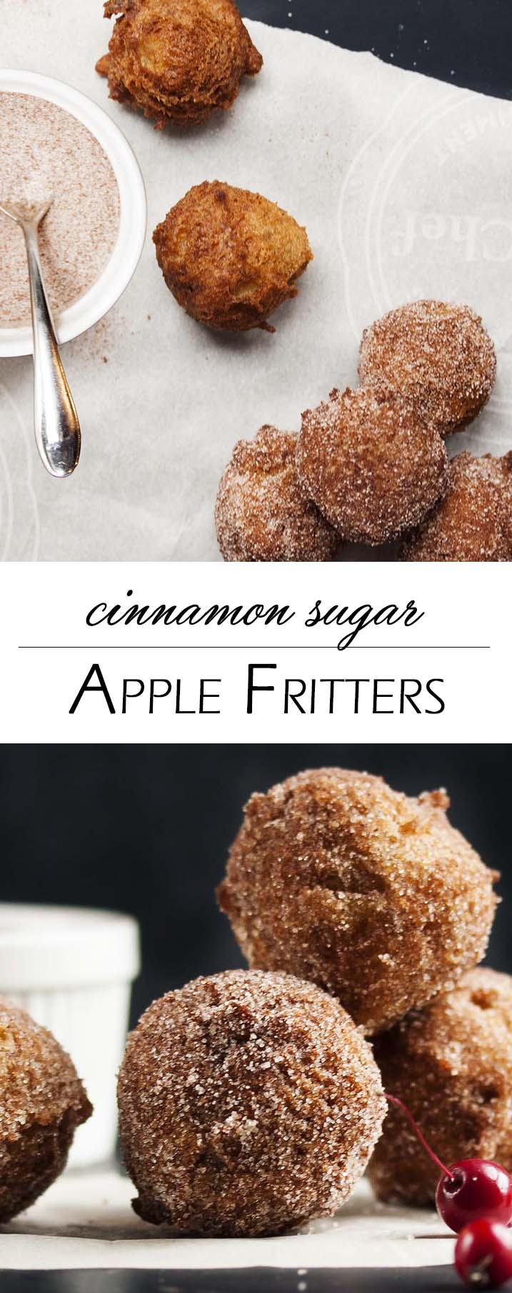 Cinnamon Sugar Apple Fritters - A snap to make, these apple fritters are little pillows of happiness full of chopped apples and covered in cinnamon sugar. And you just need one, little easy trick to turn out perfectly shaped fritters every time. | justalittlebitofbacon.com