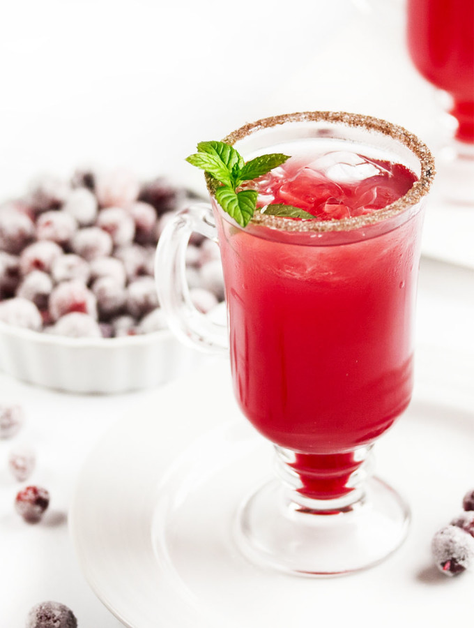 Cranberry Ginger Fizz Cocktail - This cranberry cocktail is an easy and tasty way to celebrate Thanksgiving and the winter holiday season. Just whip up a batch of the yummy cranberry syrup ahead of time and you are good to go. | justalittlebitofbacon.com