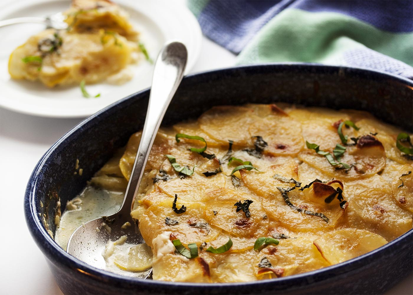 Sunny Yellow Squash and Potato Gratin - Yellow squash and yellow potatoes combine in this gratin to make one of my favorite easy side dishes.   justalittlebitofbacon.com