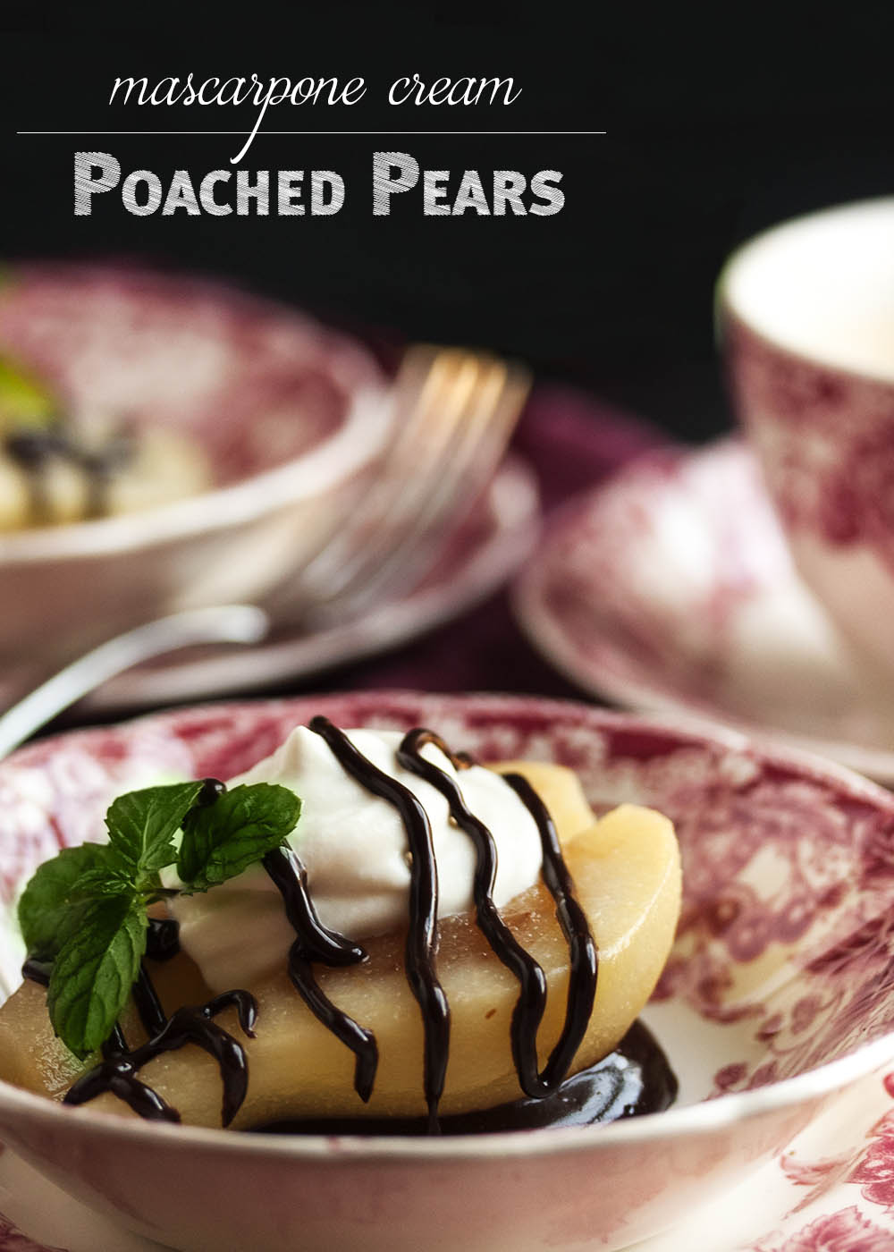 Poached Pears with Mascarpone Cream - These pears are poached in a spiced white wine syrup and then filled with mascarpone whipped cream and finished with a drizzle of bittersweet chocolate sauce. A wonderful way to end a holiday meal! | justalittlebitofbacon.com