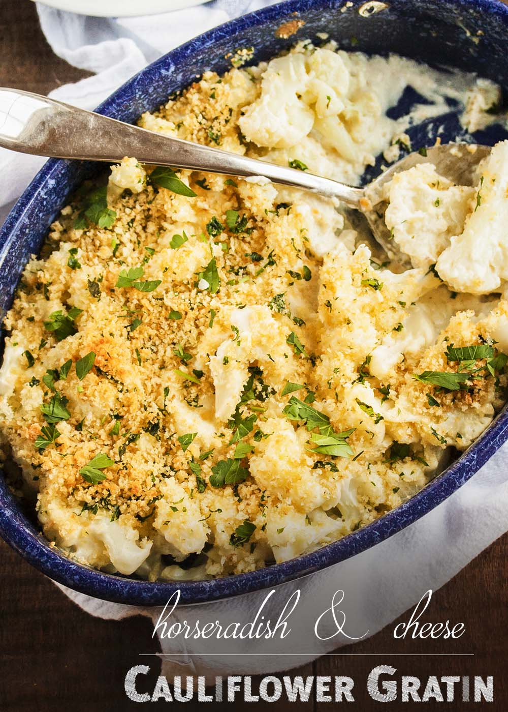 This Cauliflower Gratin in a Horseradish Cheese Sauce is comfort food that would be great on your holiday table or any other day of the year. A little spicy, a little creamy, a little cheesy, and a lot delicious. | justalittlebitofbacon.com