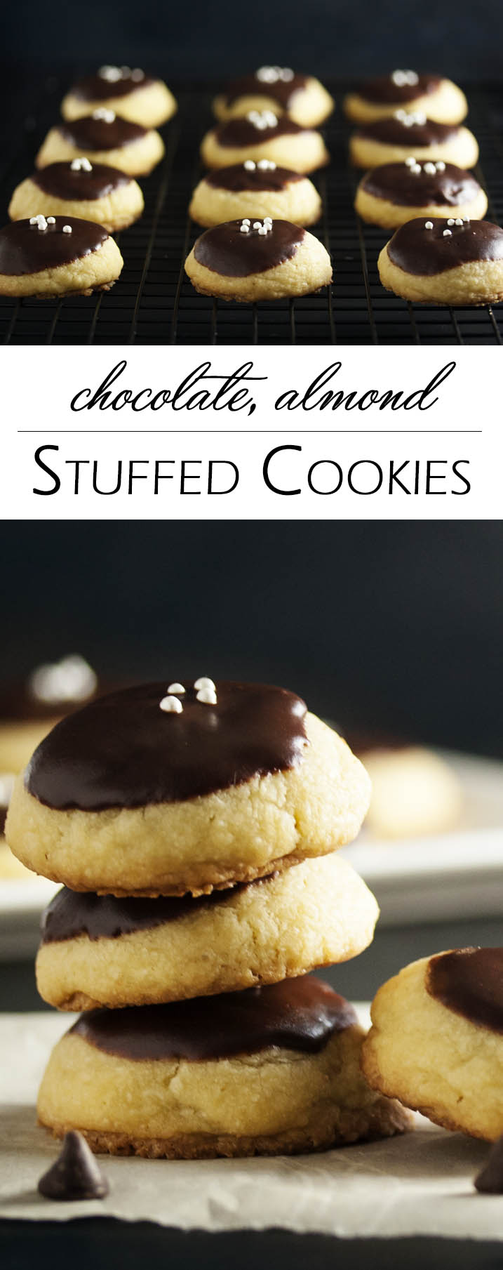 Chocolate Almond Stuffed Cookies - These chocolate covered cookies have a tender butter cookie outside and are filled with almonds and more chocolate! Just the thing to bring to a cookie exchange or to add to a cookie platter. | justalittlebitofbacon.com