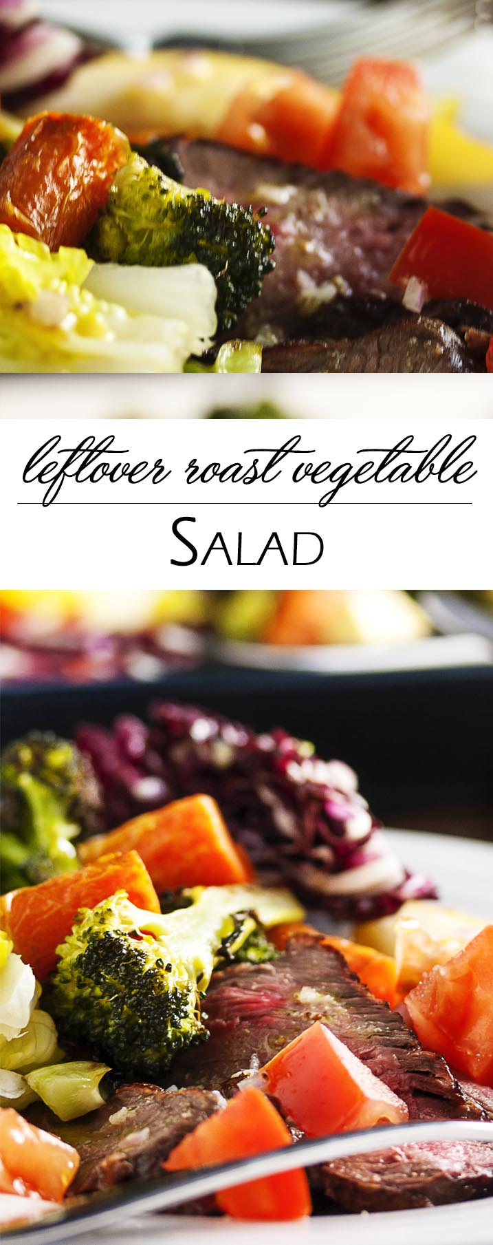 Leftover Roast Vegetable Salad with Shallot Vinaigrette - This salad is a tasty and easy way to use leftover roast vegetables and roast meats along with whatever salad fixings you have in the fridge. | justalittlebitofbacon.com