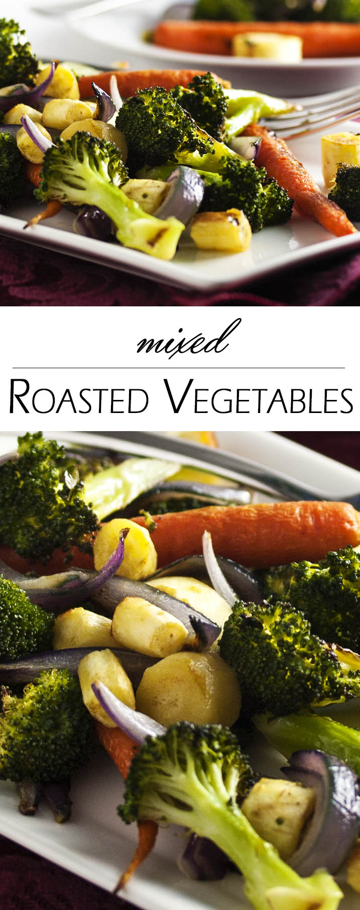 Simple Roasted Mixed Vegetables - Roasting vegetables is one of the best ways to cook vegetables since it makes them all caramelized and crispy on the outside while leaving them tender in the middle. Simple enough to have as a side on a weeknight and tasty enough to serve to company. | justalittlebitofbacon.com