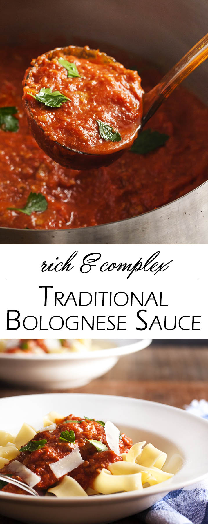 Rich & Complex Traditional Bolognese Sauce - A long, slow simmer builds layers of flavor and makes this Bolognese sauce so rich and complex! Meaty, silky, and hearty. This is a sauce worth having on your stove all day long. Make some for today and freeze some for tomorrow. | justalittlebitofbacon.com