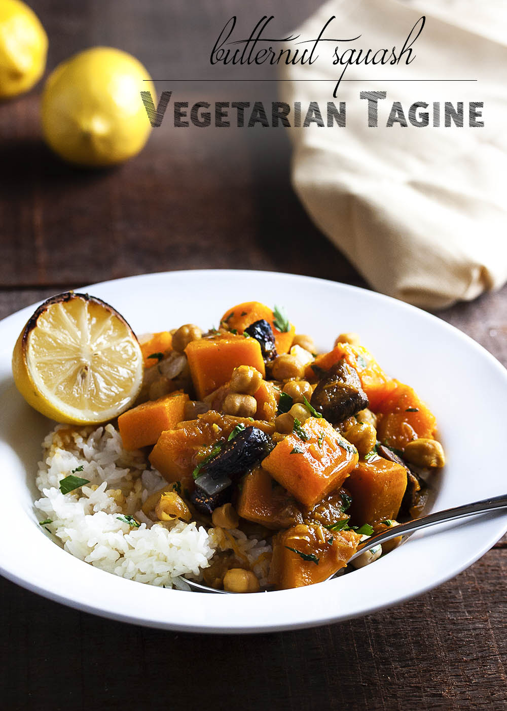 Vegetarian Butternut Squash Tagine - Need a quick vegetarian entree? You won't miss the meat in this flavorful and rich tasting vegetarian butternut squash tagine. It's sweet and spicy and yummy. And it's vegan so long as you skip the optional yogurt! | justalittlebitofbacon.com