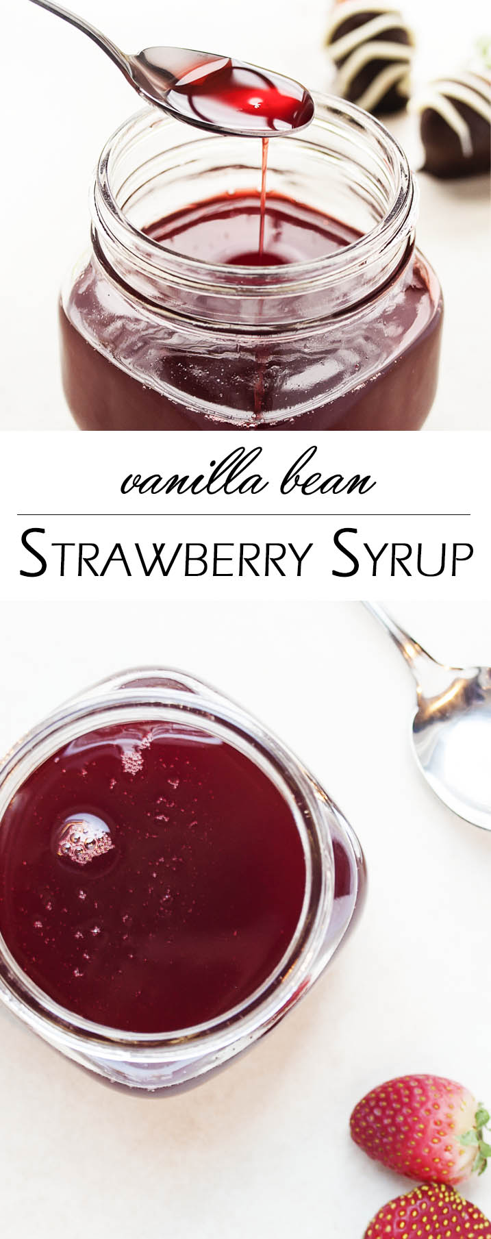 Strawberry Vanilla Bean Syrup - This strawberry vanilla syrup is full of intense strawberry flavor that you will love on pancakes, mixed into yogurt, poured on pound cake, made into cocktails, and so many other ways! And it all starts from frozen strawberries. | justalittlebitofbacon.com