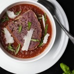Roasted Tomato Basil Soup with a Wine Soaked Crouton