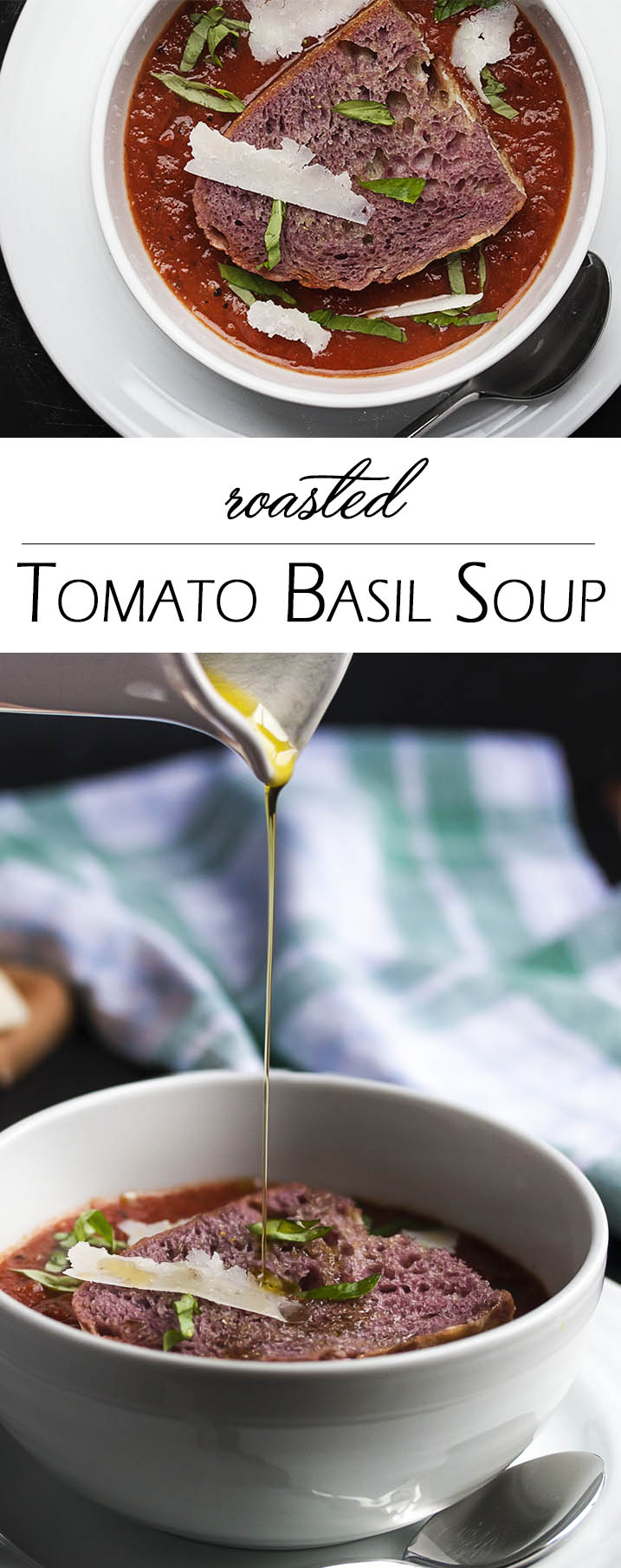 Roasted Tomato Basil Soup - Can you believe that this deep and full-flavored tomato basil soup started with canned tomatoes? It did! And it's awesome. Especially when paired with a yummy, wine-soaked crouton in the middle. The combo is one of our favorites. | justalittlebitofbacon.com
