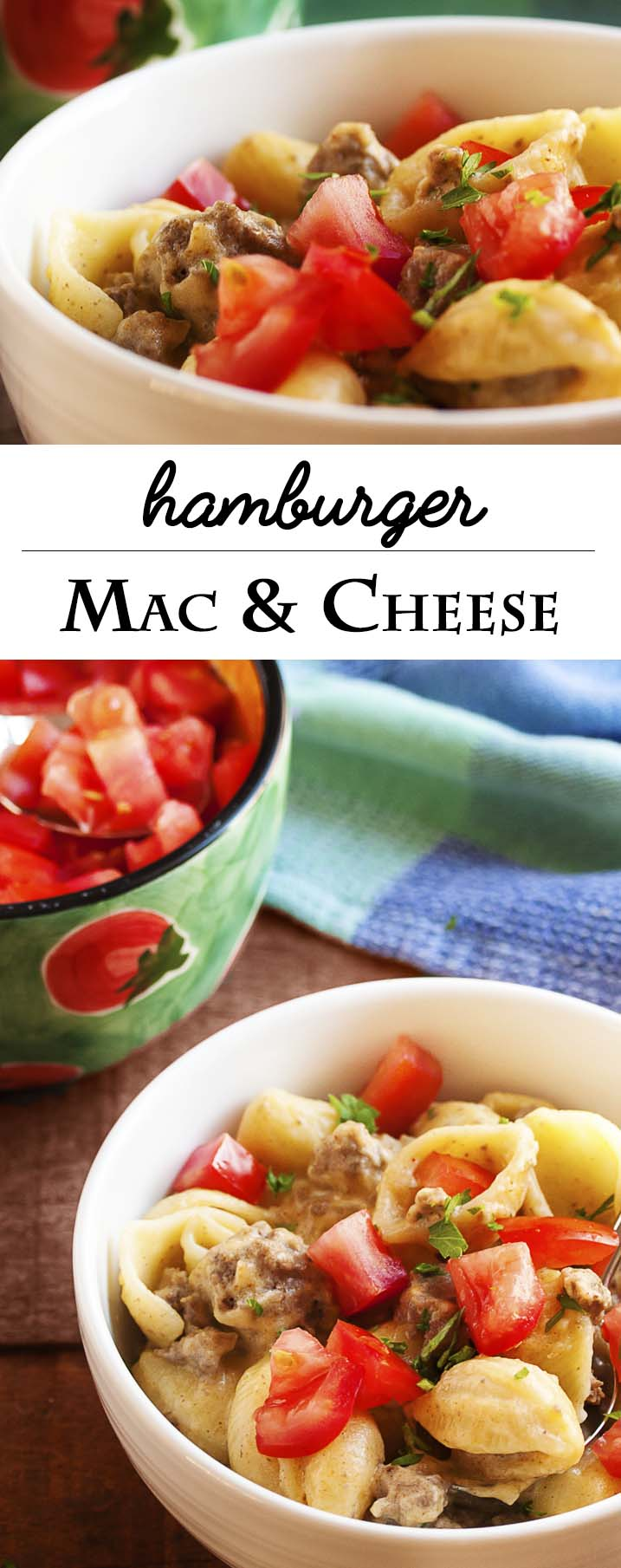 Hamburger Mac and Cheese - This kid-pleasing, stove-top mac and cheese combines ground beef, sharp cheddar, and diced tomatoes to make a great, quick weeknight meal. | justalittlebitofbacon.com