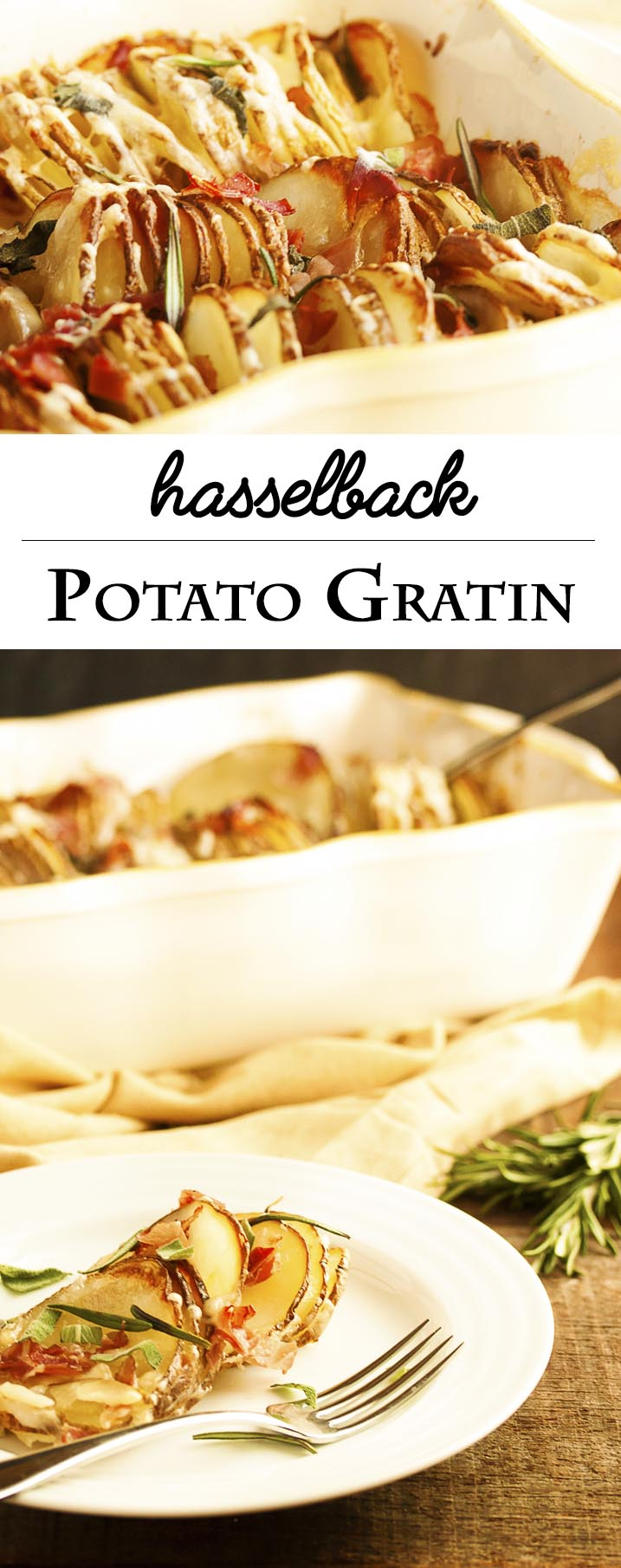 Hasselback Potato Gratin - All the yummy, crispy edges of hasselback potatoes and all the cheesy, creaminess of potato gratin contained in one casserole dish. With an Italian twist! | justalittlebitofbacon.com
