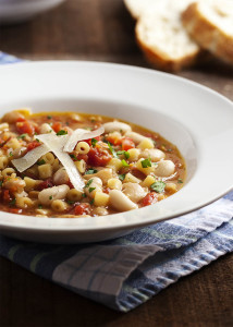 Pasta e Fagioli - Every Italian family has their own version of pasta and bean soup. Mine is light on the tomatoes, with plenty of pancetta, and a rich, flavorful broth.   justalittlebitofbacon.com