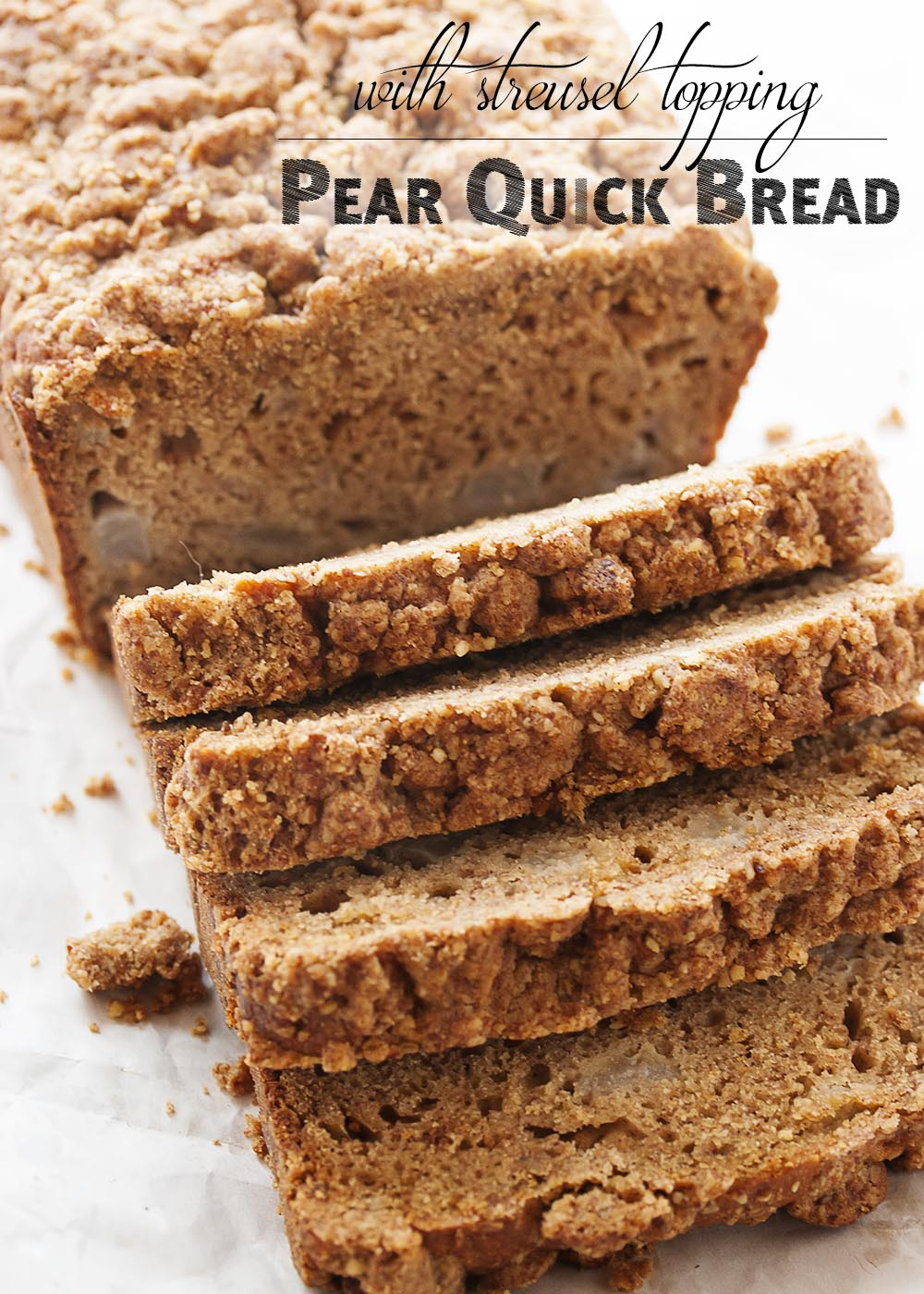 Pear Quick Bread with Streusel Topping - What to do with those overripe pears sitting on your counter? Make an easy pear quick bread from them! Great for breakfast, for snacks, and it freezes well. | justalittlebitofbacon.com