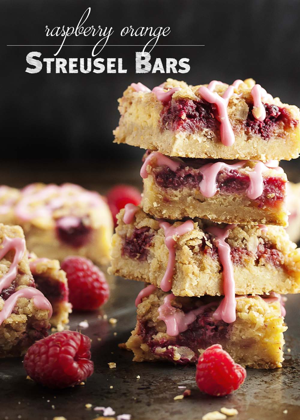 Raspberry Orange Streusel Bars - Raspberries pair with an orange cream filling and are topped by an oatmeal streusel in these flavorful and easy bar cookies. And, to make them extra fun and colorful, you can drizzle them with a raspberry glaze! | justalittlebitofbacon.com