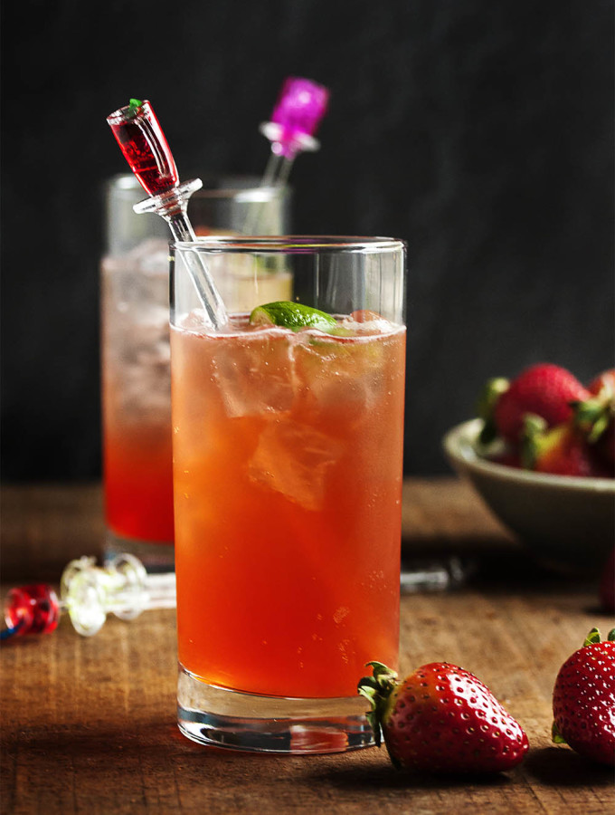 Strawberry and Lime Vodka Collins