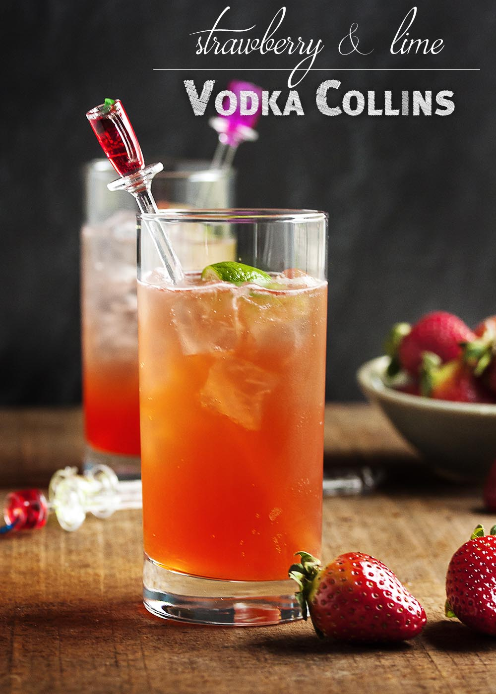 Strawberry Lime Vodka Collins - Throw away the collins mix! Homemade strawberry syrup is the secret to this seriously tasty and seriously refreshing strawberry collins. | justalittlebitofbacon.com