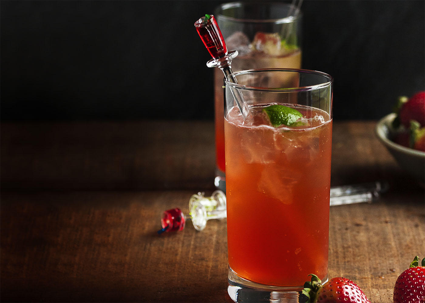 Strawberry Lime Vodka Collins - Throw away the collins mix! Homemade strawberry syrup is the secret to this seriously tasty and seriously refreshing strawberry collins.   justalittlebitofbacon.com