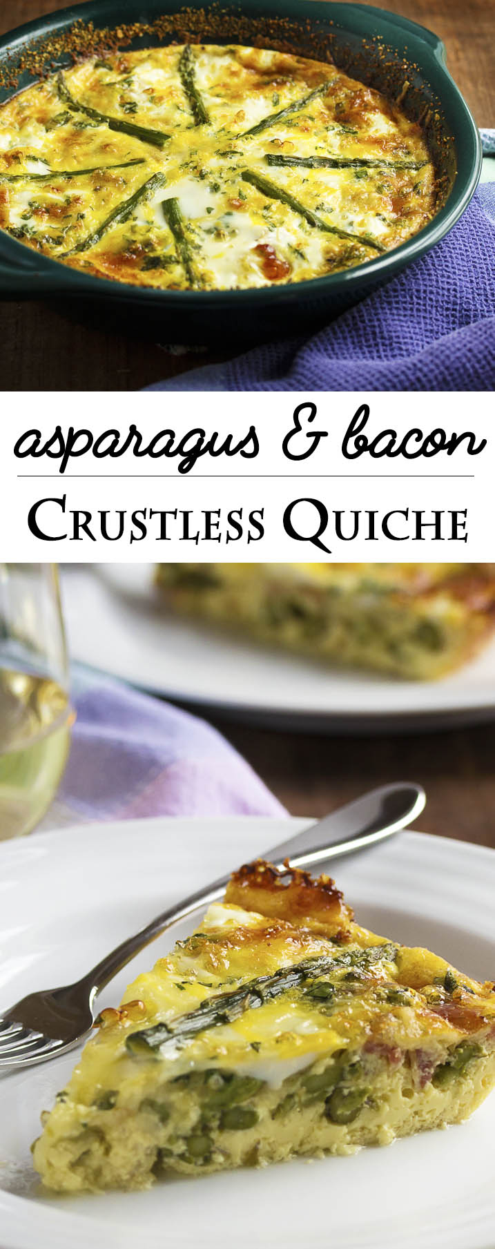 Asparagus and Bacon Crustless Quiche - This asparagus crustless quiche is full of asparagus and bacon and makes a great brunch dish or part of a spring-time lunch. | justalittlebitofbacon.com