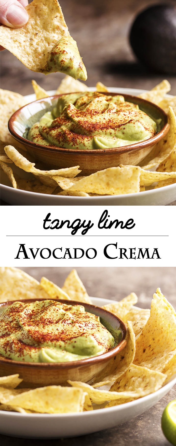 Tangy Lime Avocado Crema - Avocados are pureed with lime juice and a touch of sour cream in this Avocado Crema. Great as a taco topping, a sauce, or a dip! | justalittlebitofbacon.com