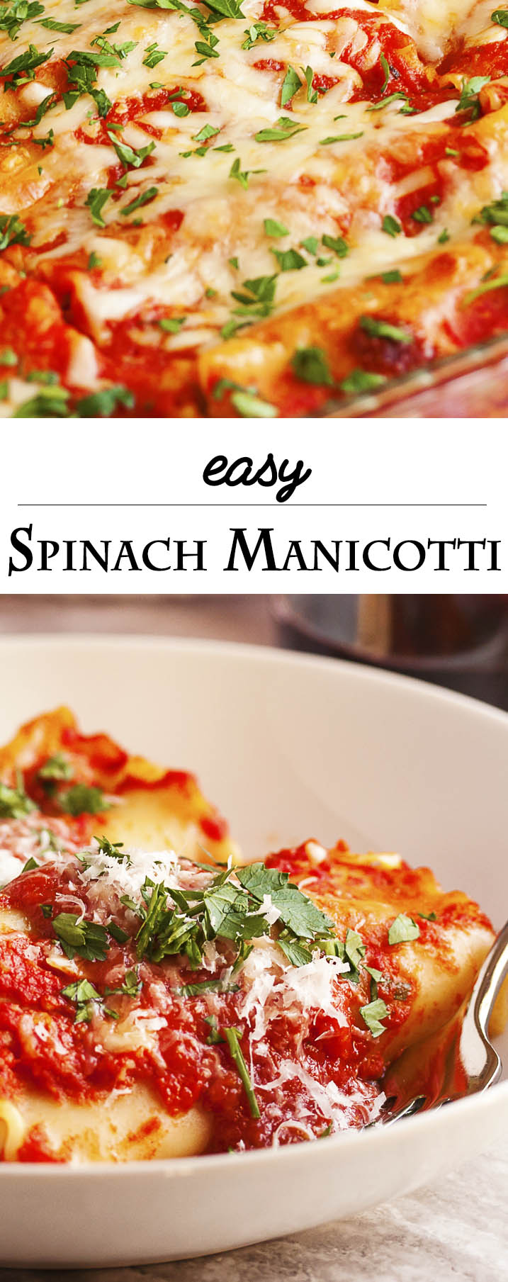Easy Spinach Manicotti - This manicotti full of spinach and ricotta and topped with cheese is a great and easy vegetarian meal or a crowd-pleasing side dish. | justalittlebitofbacon.com