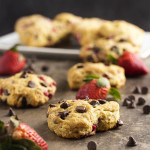 Strawberry Chocolate Chip Buttermilk Scones - This easy buttermilk scone batter is lightly sweetened and filled with fresh strawberries and bittersweet chocolate chips. Cut them into traditional wedges or pull out the heart-shaped cookie cutter and make these for someone you love. | justalittlebitofbacon.com