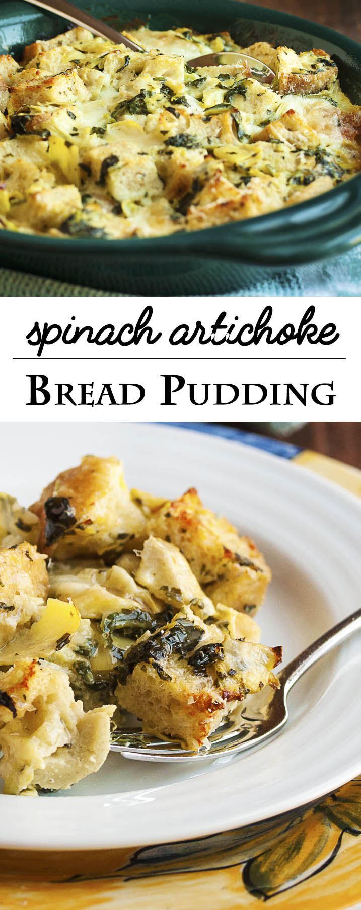 Spinach Artichoke Bread Pudding - This creamy, cheesy bread pudding full of diced artichokes and chopped spinach is the perfect way to use up that stale bread in your cupboard and turn it into a yummy, flavor-packed side dish. | justalittlebitofbacon.com