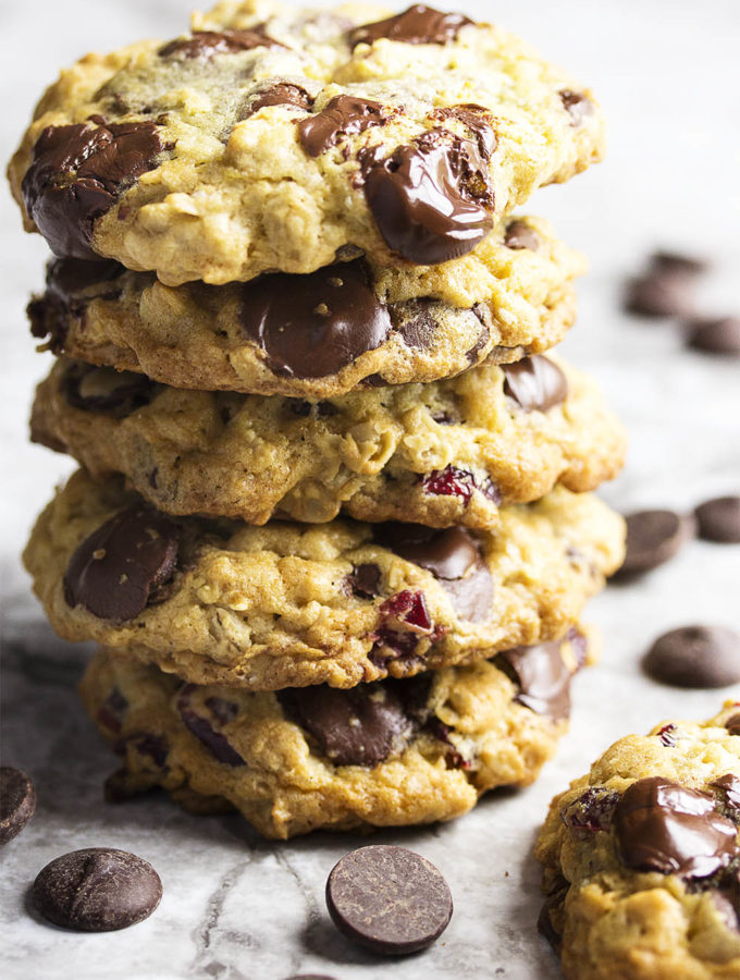 Here is the best recipe for chewy, gooey, cherry studded one bowl chocolate oatmeal cookies! It's so easy to make that you'll want to bake them right now. And you should because they are as delicious as they are easy. | justalittlebitofbacon.com