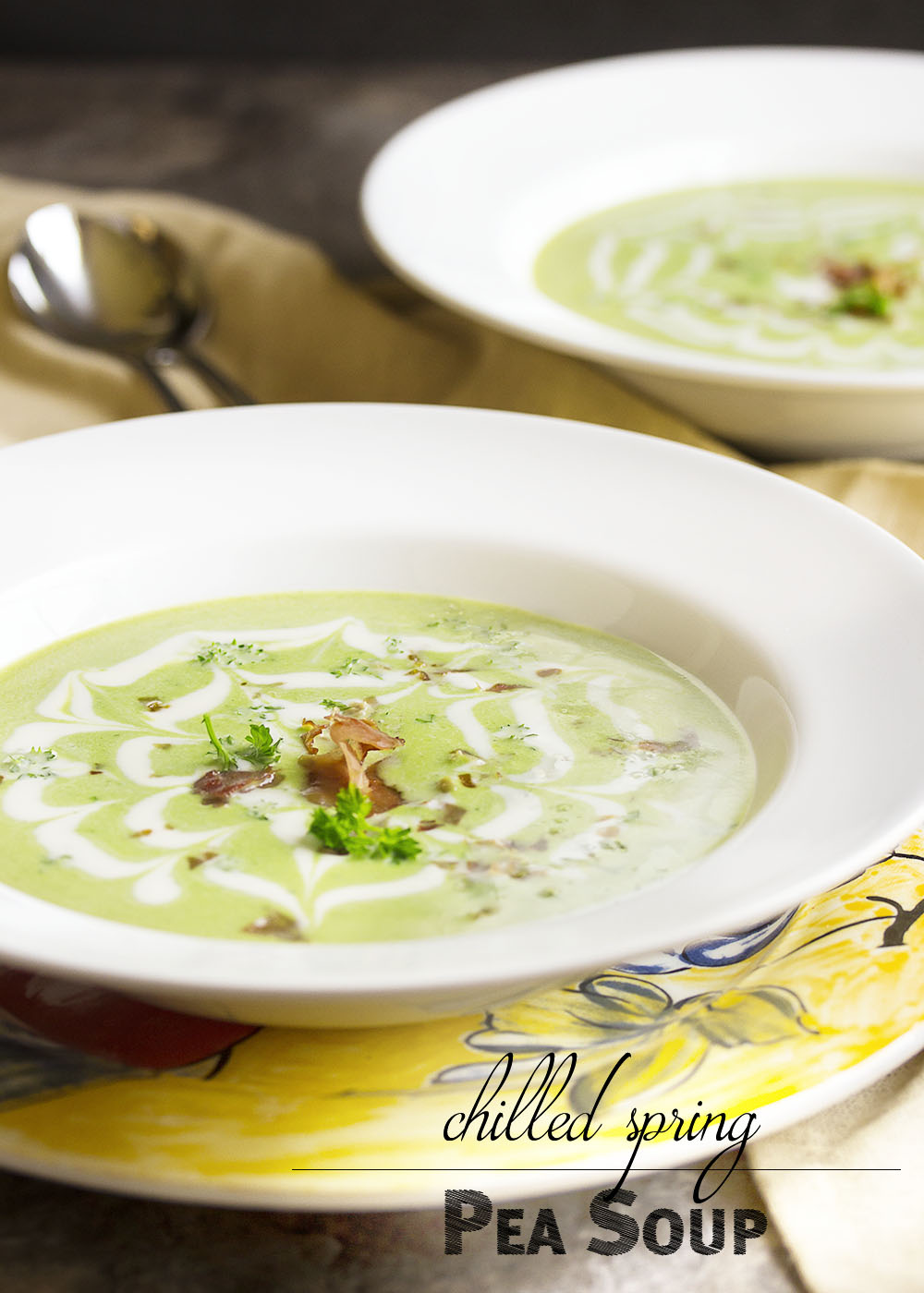 Chilled Spring Pea Soup - This elegant and easy chilled pea soup is full of fresh flavor and is great as a light meal or the first course of a celebration dinner. | justalittlebitofbacon.com