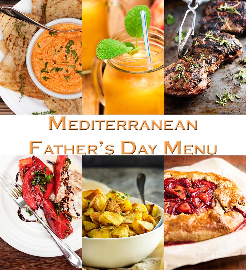 Mediterranean Inspired Father's Day Menu - Everything you need from appetizer to cocktails to dessert for celebrating Father's Day with this Mediterranean Menu. | justalittlebitofbacon.com