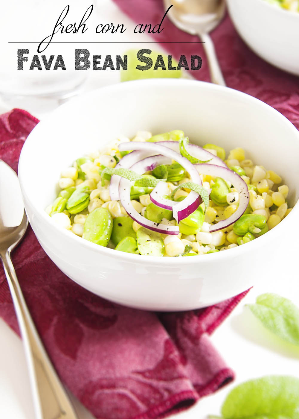 Fresh Corn and Fava Bean Salad - This fresh and flavorful salad of corn and fava beans is a great way to take that tiny pile of fava beans which you extracted from a giant pile of bean pods and turn it into a satisfying side dish. | justalittlebitofbacon.com