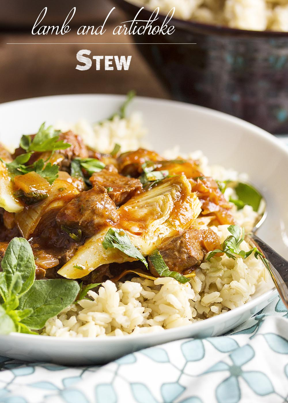 Lamb and Artichoke Stew - I love this Greek inspired spring stew full of lean lamb, artichokes, tomatoes, and plenty of fresh oregano. Serve it over rice or with some crusty bread to soak up the sauce. | justalittlebitofbacon.com