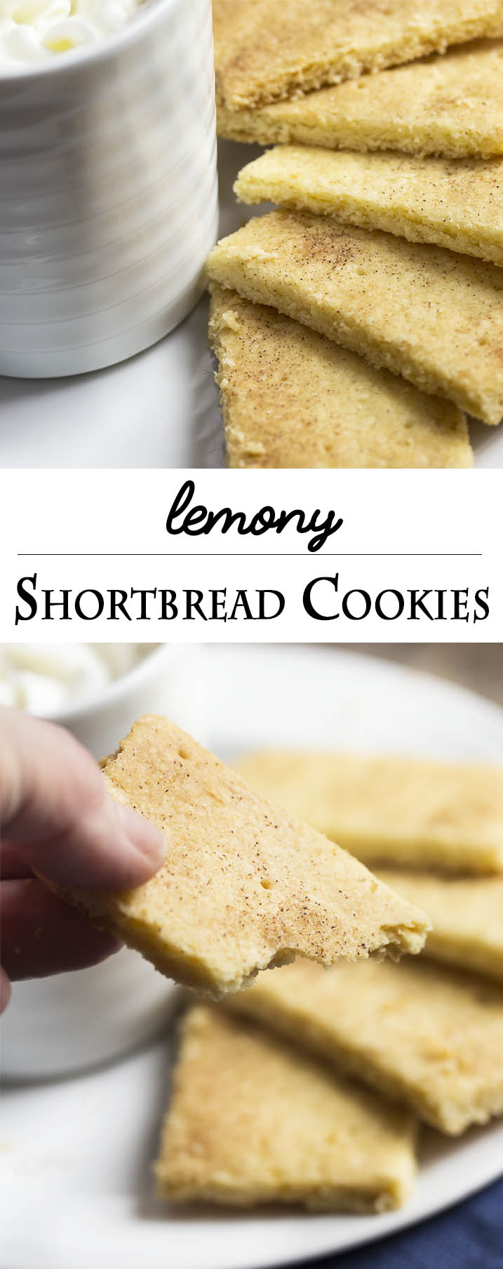 Lemony Shortbread Cookies - These lemon shortbread cookies are classic butter cookies with a tender, crumbly texture. So easy to roll out or press into your pan! They are great plain, topped with flavored sugar, or dipped in chocolate. | justalittlebitofbacon.com
