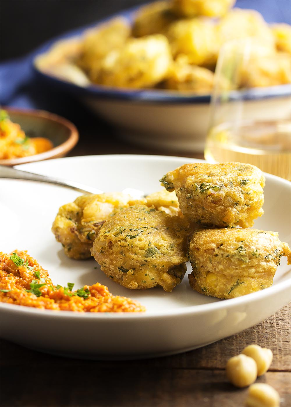 Gluten Free Chickpea Shrimp Fritters - These light and crispy fritters of chickpea flour and chopped shrimp are quickly fried to make a tasty and gluten free appetizer. The recipe includes a vegan option too! | justalittlebitofbacon.com