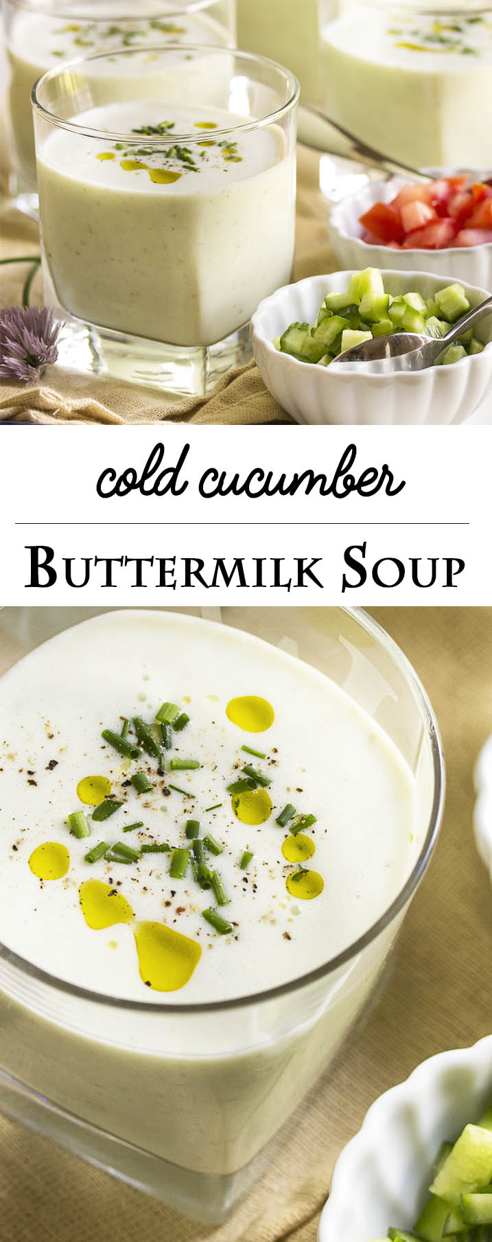 Cold Cucumber Buttermilk Soup - Cucumber blended with buttermilk makes a refreshing, cold soup on a hot, summer day. It takes only moments to prepare and, as a bonus, it's a great way to use up extra buttermilk. | justalittlebitofbacon.com