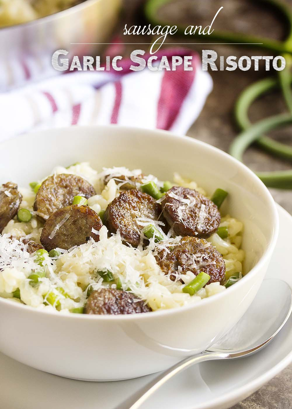 Sausage and Garlic Scape Risotto - Love risotto? Want to try garlic scapes? Garlic scapes have a great, mellow, garlic flavor when they are sauteed as in this risotto with garlic scapes and sausage. | justalittlebitofbacon.com