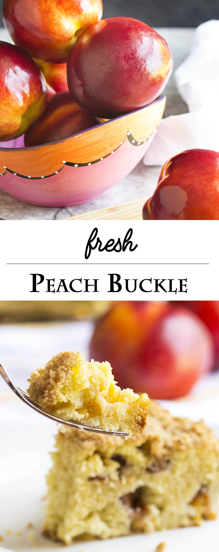 Fresh Peach Buckle Cake - This fresh peach buckle is a wonderful, homey fruit dessert which is tender and moist and packed full of peaches. Great for dessert, for breakfast, or for a mid-day snack. | justalittlebitofbacon.com