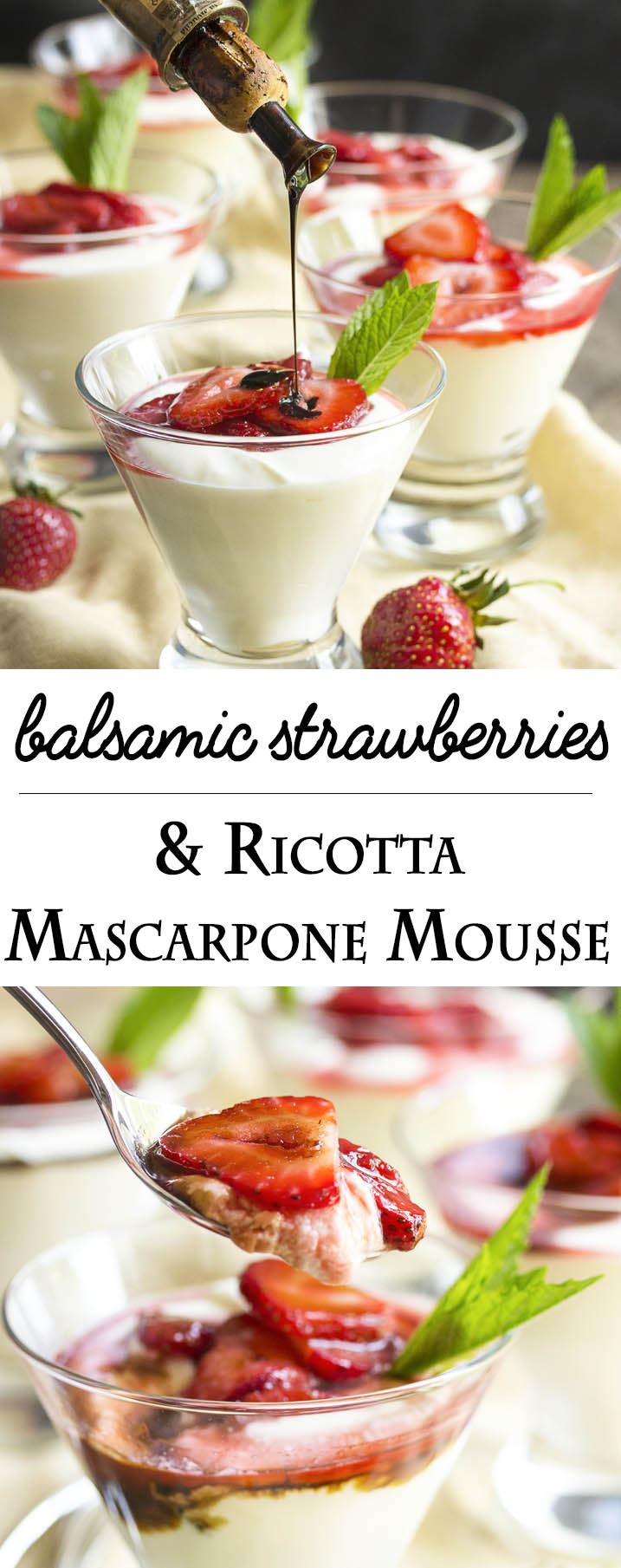 Balsamic Strawberry Mascarpone Mousse - Ricotta and mascarpone are whipped together in a light and flavorful mousse which is topped by balsamic strawberries in this yummy Italian style no bake dessert. | justalittlebitofbacon.com