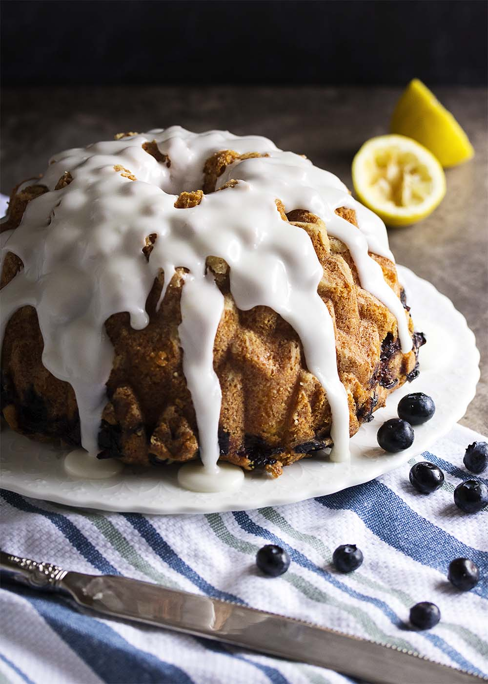 Blueberry Yogurt Cake This Bundt Is Full Of Fresh Blueberries Layers Lemon